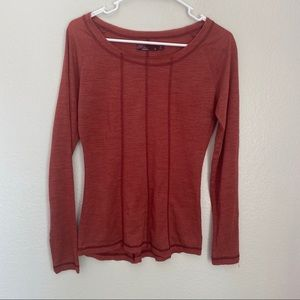 Prana Long Sleeve Basic Round Neck Top Solid Red